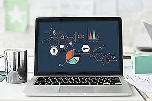 Macbook mit Graphiken - Risikoanalyse bei Baron Investment