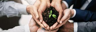 Gruppe hält Pflanzenerde in den Händen - Vermögensberatung bei Baron Investment